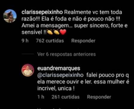 Após 'shipper', André Marques volta a elogiar Peixinho: 'incrível e única' (Foto: Reprodução/Instagram)