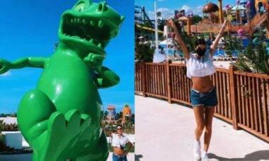 Grávida, Thaila Ayala curte passeio temático em viagem pelo México
