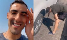 Douglas, do vôlei, mostra perrengue após pneu do carro furar: 'que ódio'