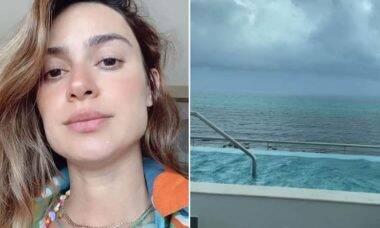 Grávida, Thaila Ayala mostra aproximação de furacão no México: 'medo'