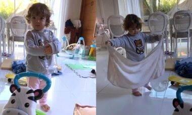 Tata Werneck mostra filha limpando o chão que sujou: 'é o correto'