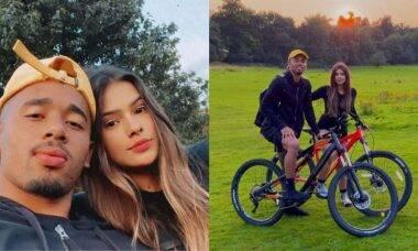 Gabriel Jesus e namorada curtem pôr do sol com passeio de bicicleta