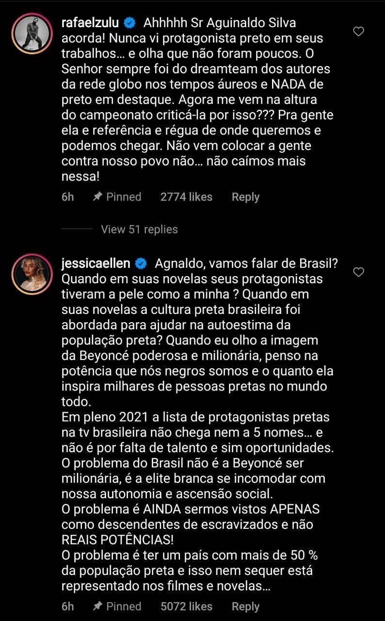 Jéssica Ellen e Rafael Zulu rebatem fala de Aguinaldo Silva sobre Beyoncé (Foto: Reprodução/Instagram)