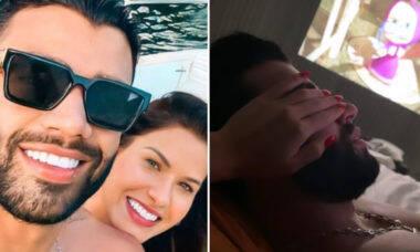 Gusttavo Lima ganha carinho de Andressa Suita depois de voltar de turnê
