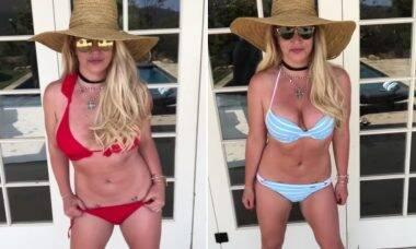 Britney Spears exibe novos biquínis durante viagem a Maui