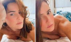 Deborah Secco posa topless na cama e chama a atenção de Luan Santana