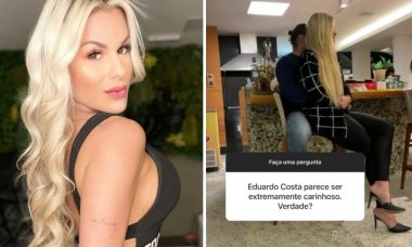 Namorada de Eduardo Costa posa no colo do cantor após polêmicas