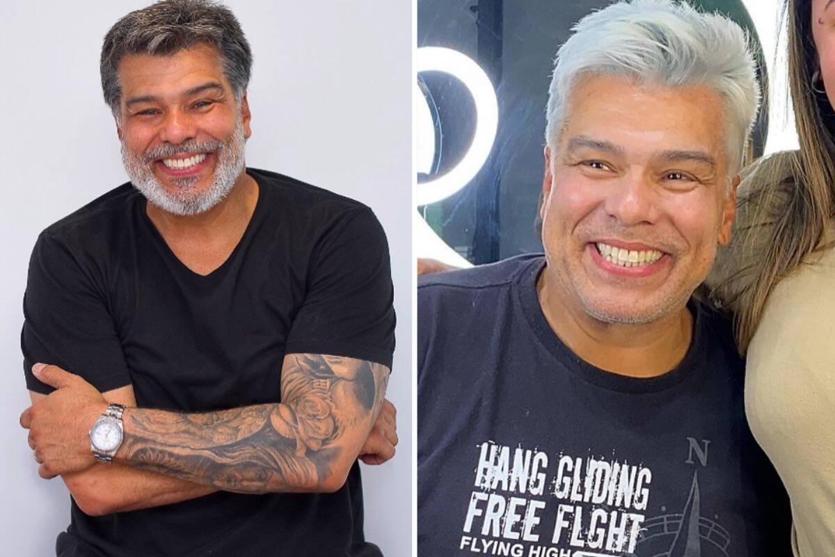 Maurício Mattar muda o visual e aparece com o cabelo platinado