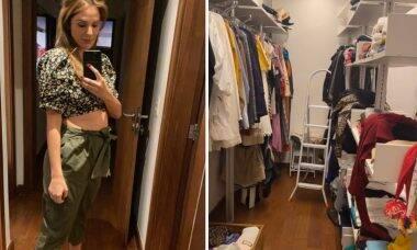 """Grávida, Rafa Brites desmonta closet para fazer o quarto do filho: """"Olha o tamanho"""""""