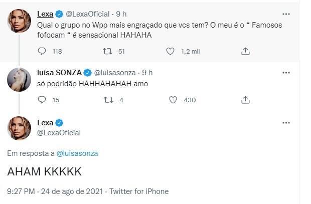 Luísa Sonza e Lexa revelam fazer parte de grupo de fofoca: 'só podridão' (Foto: Reprodução/Instagram)