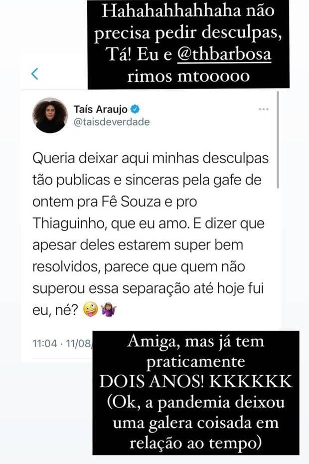 Fê Souza e Thiaguinho sobre gafe de Taís Araujo: 'ri pra dedéu' (Foto: Reprodução/Instagram)