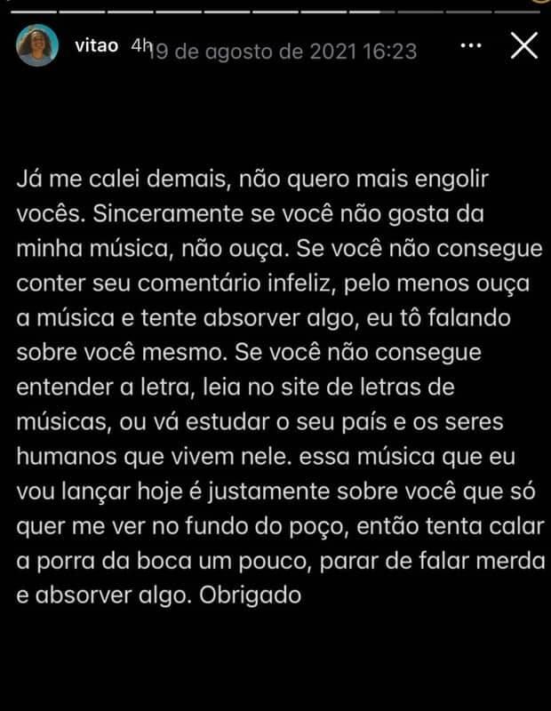 'Não quero mais engolir vocês', desabafa Vitão sobre haters e críticas (Foto: Reprodução/Instagram)