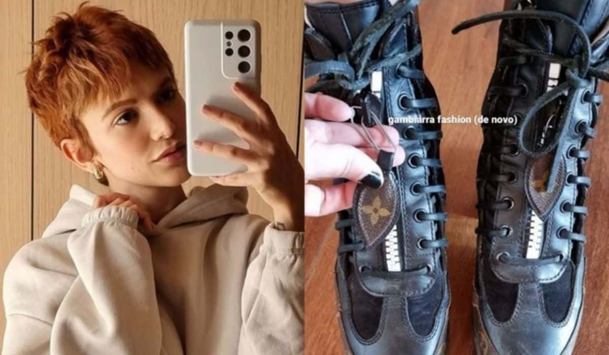 Manu Gavassi mostra 'gambiarra' para consertar sua bota de grife (Foto: Reprodução/Instagram)