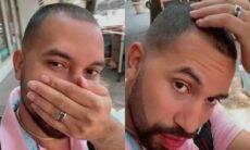 Nos EUA, Gil do Vigor reclama sobre novo corte de cabelo: 'fiquei careca'
