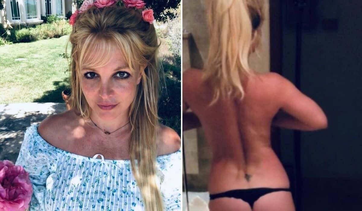 Britney Spears posa apenas de calcinha: 'aqui a minha bunda'