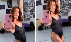 Claudia Raia posa com maiô de ballet transparente e encanta os fãs