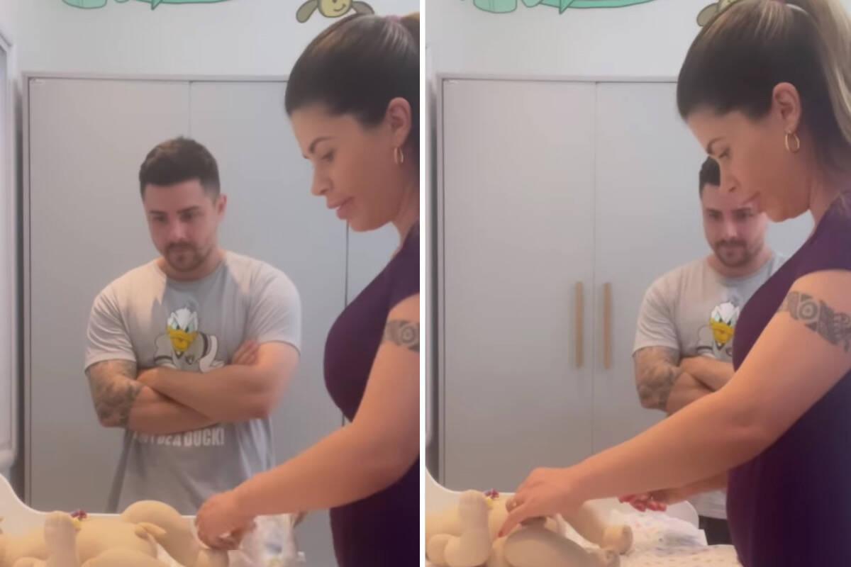 """Cacau Colucci e marido treinam troca de fraldas com boneco: """"Será que vou pegar o jeito?"""""""