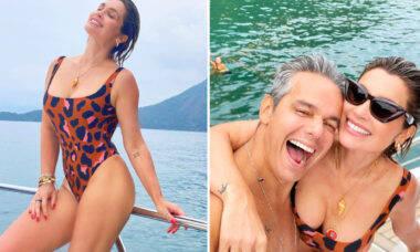 """Flávia Alessandra curte passeio de barco com o marido: """"Se é inverno, eu nem me lembro mais"""""""