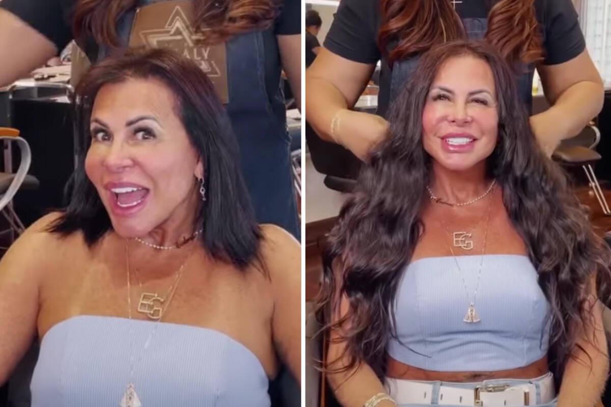 Gretchen muda o visual e coloca apliques no cabelo