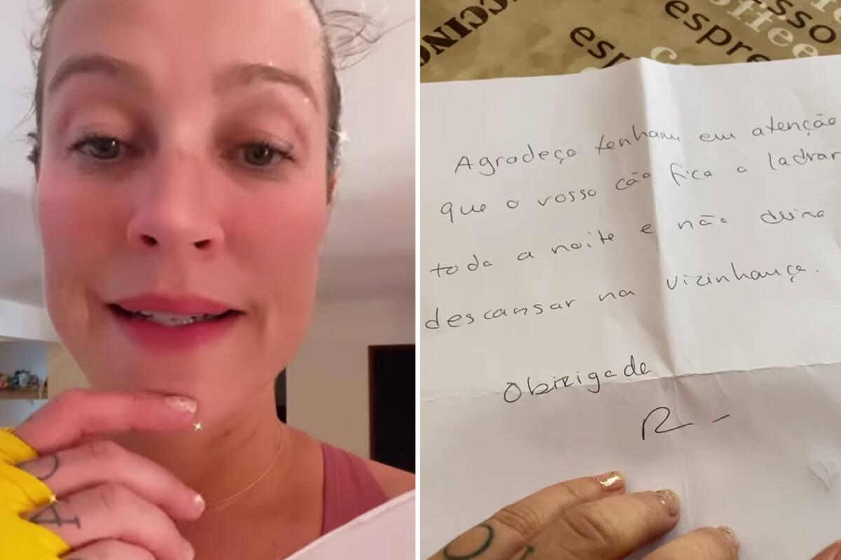 Luana Piovani recebe carta de vizinho reclamando de seu cachorro e manda recado