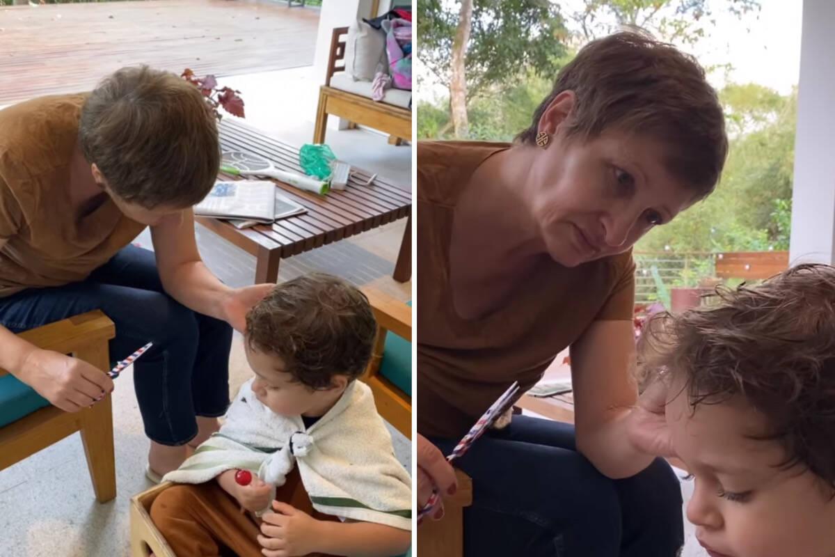 """Sônia Bridi corta o cabelo do neto em casa: """"Salão da vovó"""""""