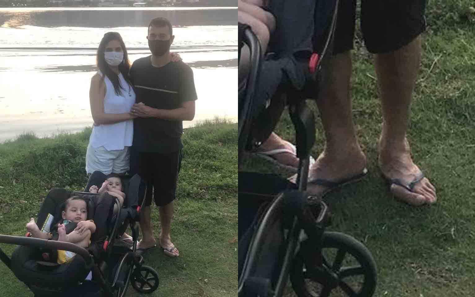 Dedão torto de André Rizek chama atenção em foto com Andréia Sadi e gêmeos. Foto: Reprodução Instagram